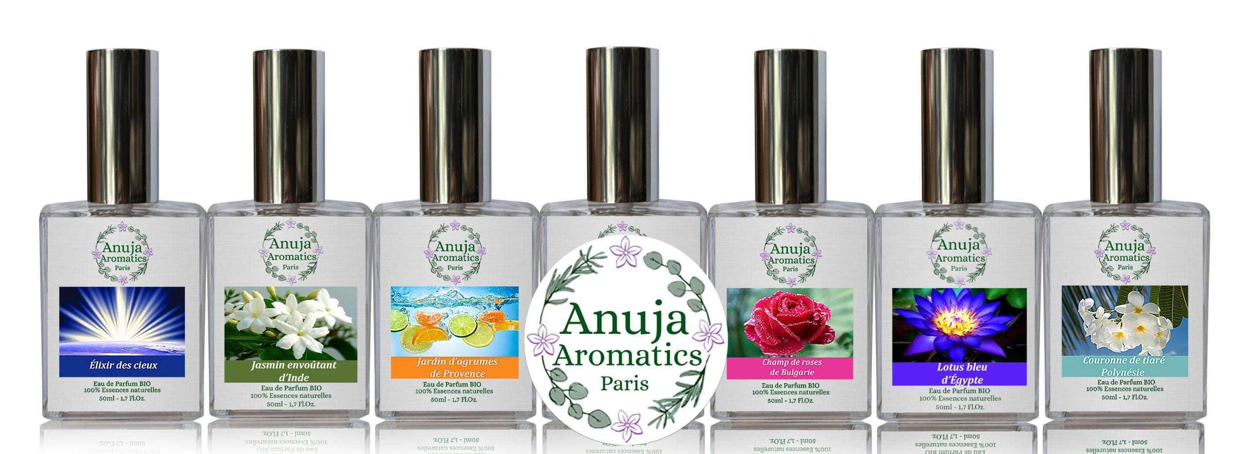 Sortiment von sieben natürlichen Bio-Parfüms Anuja Aromatics